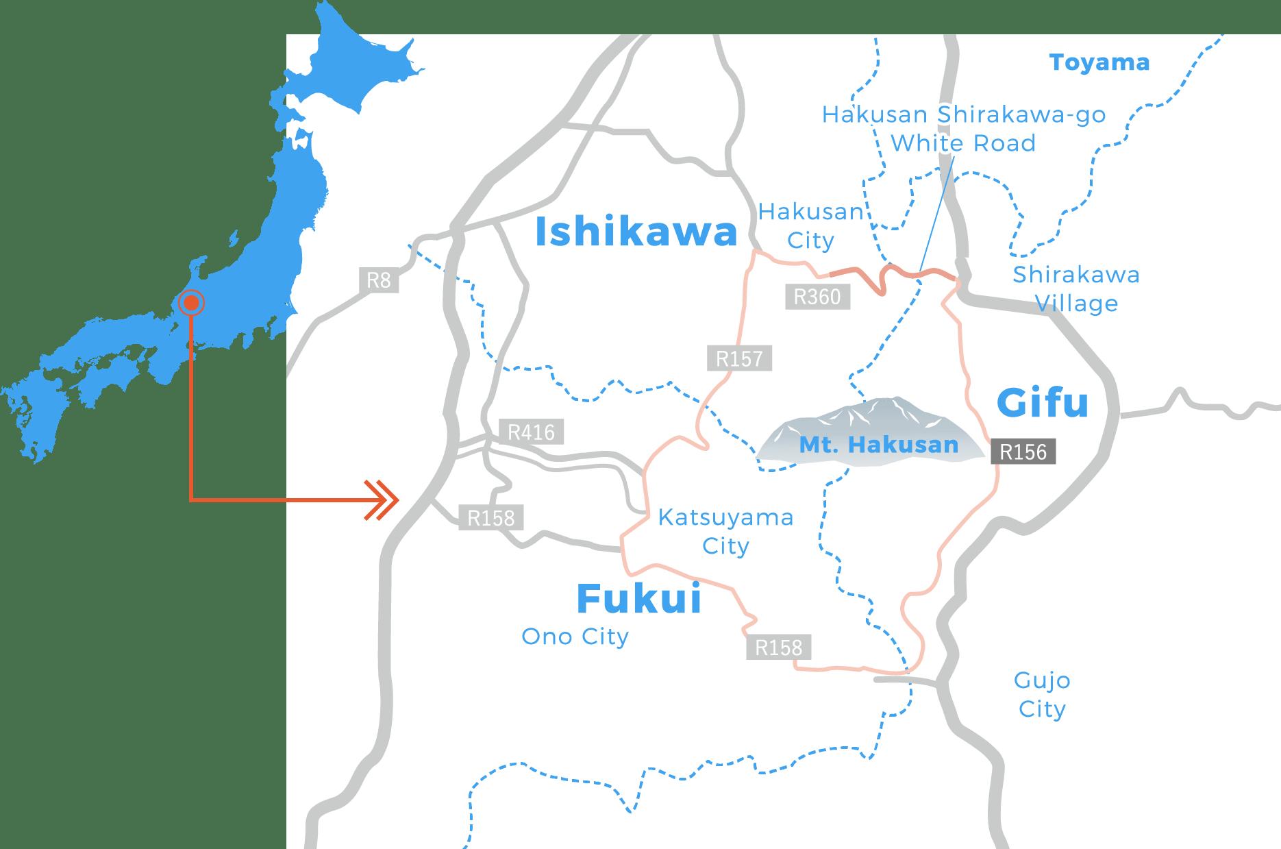 Kan Hakusan area map